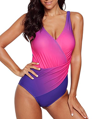 CILKOO Womens Tummy Control One Piece Swimsuit Front Cross Colorblock Bathing Suit Plus Size for Women Purple US18-20 XX-Large