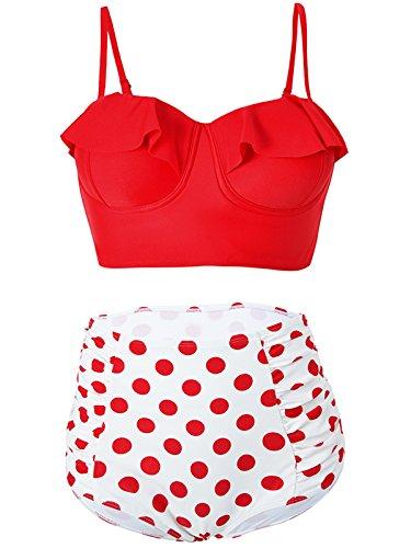 Michigan Womens Boy Brief (Zando Kawaii Juniors Swimsuit Plus Size Vintage Swimwear Midkini Strappy Flower Bikini High Waist Bath Suits for Women Red XL (US 10-12))