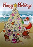 Tropical Santa Reindeer Sandcastle Christmas Holiday Tree Boxed Greeting Cards
