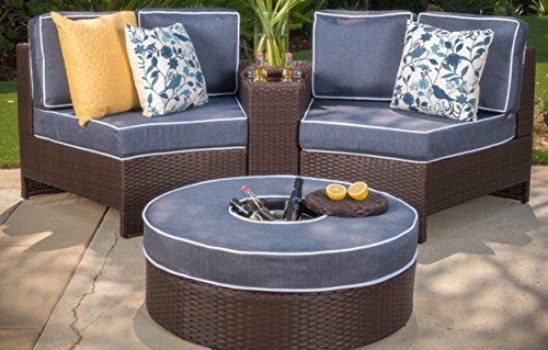 Christopher Knight Home Riviera Positano Outdoor Patio Furniture Wicker 4 Piece Semicircular Sectional Sofa Seating Set w/Waterproof Cushions (Ice Bucket Ottoman, Navy Blue) ()