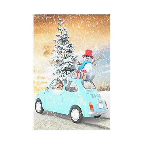 Car with Christmas Tree and Snowman Polyester Garden Flag 12