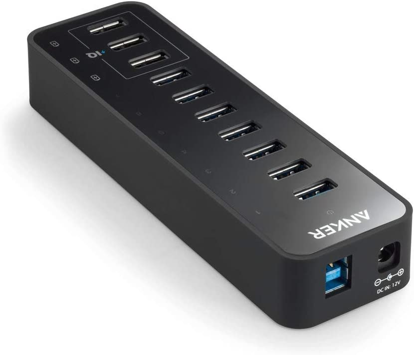 Surface Pro Anker 10 Port 60W Data Hub with 7 USB 3.0 Ports and 3 PowerIQ Charging Ports for MacBook Mac Pro//Mini XPS iPad Air 2 Renewed iMac and More Galaxy Series iPhone 7 Mobile HDD