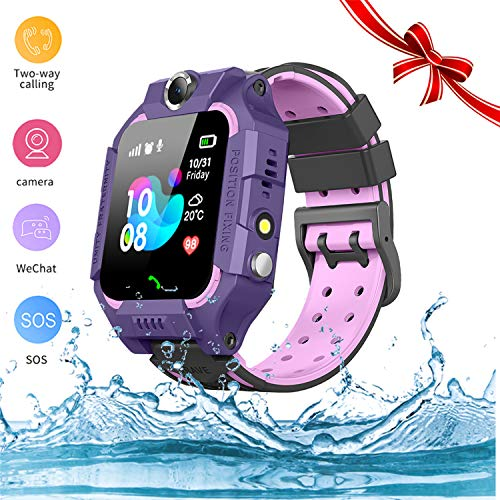 Kids Smartwatch - GPS Tracker Smartwatches Wrist Digital Watch Phone SOS Alarm Clock Camera Flashlight Phone Watch for Children Age 3-10 Boys Girls with iOS Android Gifts (blue) (02 Waterproof Purple)