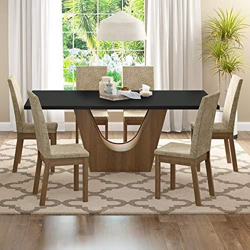 Conjunto Sala de Jantar Mesa 6 Cadeiras Údine Madesa Rustic/Preto/Suede Imperial