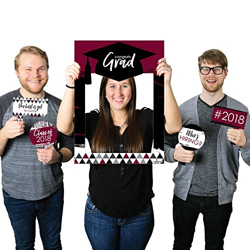 Maroon Grad - Best is Yet to Come - Burgundy 2018 Graduation Party Photo Booth Picture Frame & Props - Printed on Sturdy Material (Party Accessories Graduation)