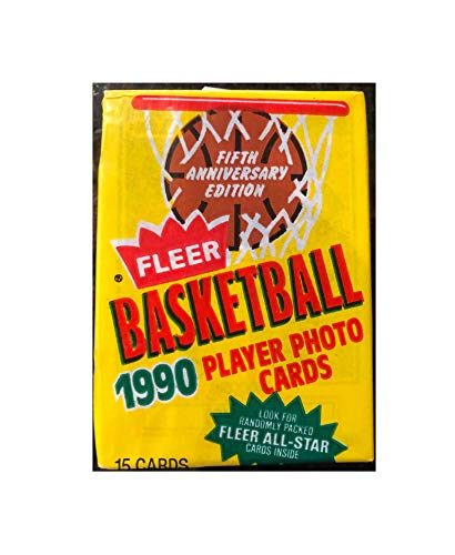 Fleer 1990 Basketball NBA Collectible Trading Cards 10 Unopened Packs (15 Cards per Pack, 150 Cards Total) - Randomly Inserted All Pro Cards - Michael Jordan, Larry Bird, Isiah Thomas, Reggie Miller ()