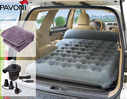 PAVONI SUV Heavy-Duty Backseat Car Inflatable Travel Mattress for Camping/Perfect for SUV/RV/Minivan (Gray) with Electric Pump + Mattress Towel Set