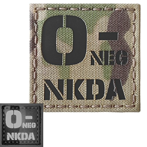 Multicam Infrared IR ONEG NKDA O- Blood Type 2x2 Tactical Morale Hook&Loop Patch