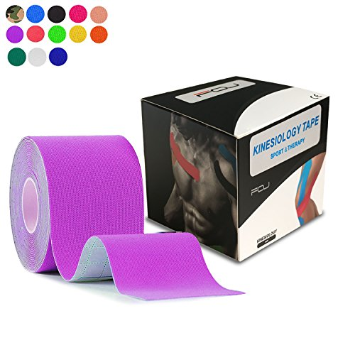 Kinesiology Theraeputic Tape Physio for Athletic Sports Recovery Pain Relieve Strong Adhesion Waterproof Original Cotton Uncut 2 Inch x 16.4 Feet (Purple)
