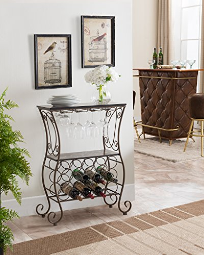 (Kings Brand Furniture Metal/Marble Finish Wine Storage Organizer Rack Console Table)