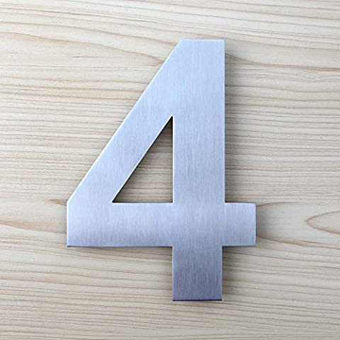 Mellewell House Number Floating 8 Inch Stainless Steel Brushed Nickel, Number 4 Four, HN08-4 (Steel House Numbers)