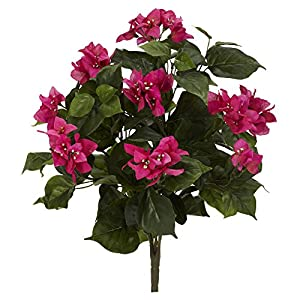"Nearly Natural 6070-S3 20"" Bougainvillea (Set of 3) Artificial Plant, Pink 116"
