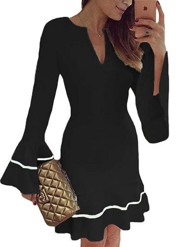 Sidefeel Women Cute V Neck Bell Sleeves Pencil Sheath Mini Dress