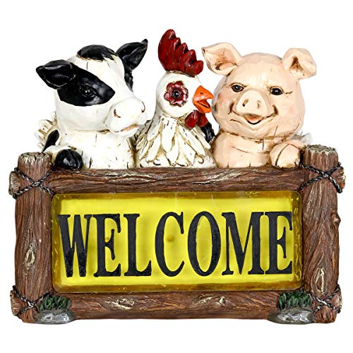 Exhart Solar Farm Animals Welcome Sign Garden Statue - Hand-Painted Welcome Resin Statue of a Chicken, Pig & Cow w/Solar LED Decor Lights - Solar Welcome Sign Farm Animals Decor, 11 x 10