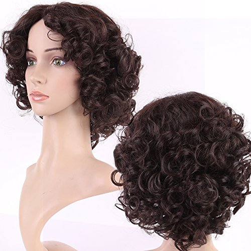 [S-noilite Short Curly Wigs Classy Womens Laidies Heat Resistant Synthetic Hair Wig Bangsless (short wigs, Dark brown] (Perm Wigs)
