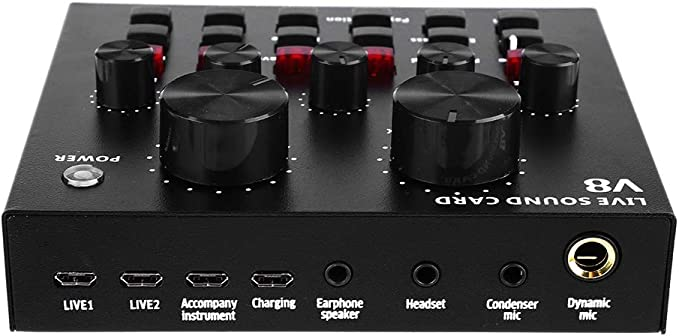 Adanse V8 Tarjeta de sonido externa USB Live micr/ófono funci/ón de tarjeta de sonido para ordenador grabaci/ón de voz tel/éfono m/óvil