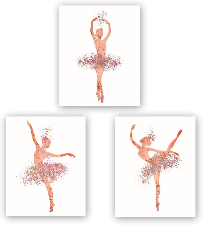 "Ballet Art Painting Elegant Dancing Art Poster Set of 3 (10""X8""Canvas Ballerina Print Ballet Dancer Collection Fashion Women or Lovely Girl Bedroom Home Decor,No Frame"