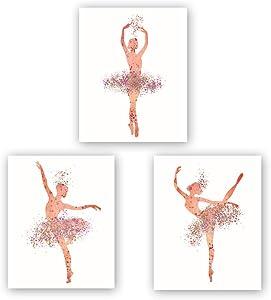 "Ballet Art Painting Elegant Dancing Art Poster Set of 3 (10""X8""Canvas Ballerina Print Ballet Dancer Collection Fashion Women or Lovely Girl Bedroom Home Decor,No Frame"