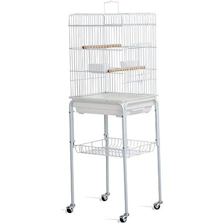 Yaheetech Jaula de Periquito Loro Jaula de pájaros para Aves con Ruedas 40,5 x 36,9 x 118 cm Blanco: Amazon.es: Productos para mascotas