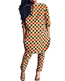 Ofenbuy Women's Casual African Print Two Pieces Outfit Crop Top Pants Suits