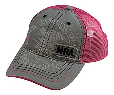 NRA Ladies Distressed Pink & Gray Mesh Back Cap - Officially Licensed