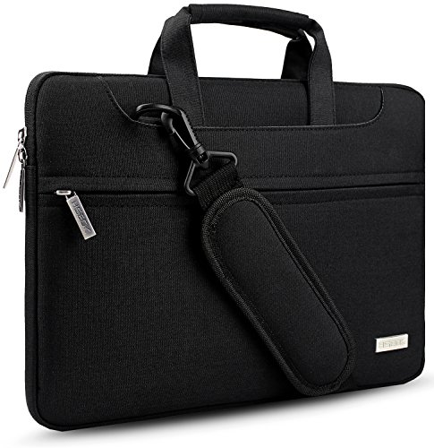 Hseok 3-Way 13.3 Inch Laptop Shoulder Bag Brifecase Water-Resistant NoteBook Sleeve Case for MacBook Air Pro, iPad Pro, Surface Book most 13-14 inch Dell/Ausu/Acer/HP/Toshiba/Lenovo,Black by Hseok