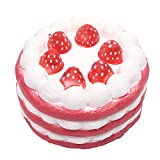 Taloyer 1pcs Cute Jumbo Squishy Simulation Strawberry Cake Decompression Hand Wrist Toy Cream Scented Slow Rising Rebound Stress Relief Squeezing Toy