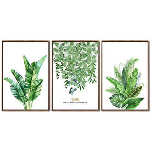 Canvas Print Wall Decor Art Leaf Green Plant with Gold Color Series Picture Simple Life 3 Piece 16 x 24
