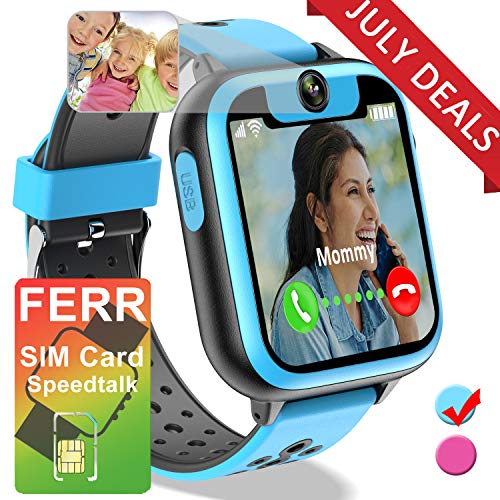 Kids Smart Watch - [Free SIM Card] Smart Phone Watch for Boys Girls SOS 2 Way Call Camera Puzzle Game Clock Touchscreen Smart Cell Phone Watch for Children Back to School Holiday Birthday Gifts (Blue) (Best Smartphone For 11 Year Old)