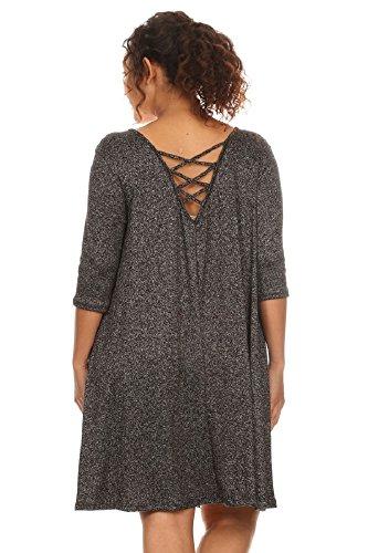 Plus Size Sportswear (Plus Size Cage Back Trapeze Dress (1X, Black/White))