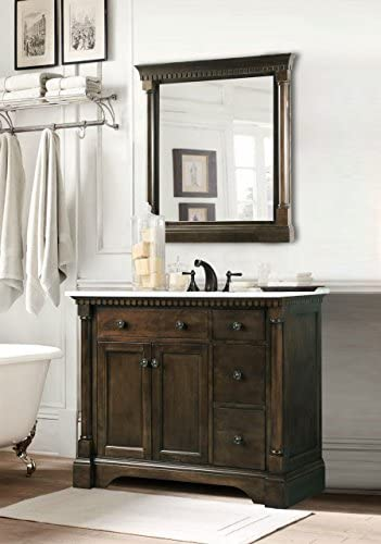 Legion Furniture WLF6036-36 36 Bathroom Vanity and Carrara White Marble Top, Coffee Bean Finish