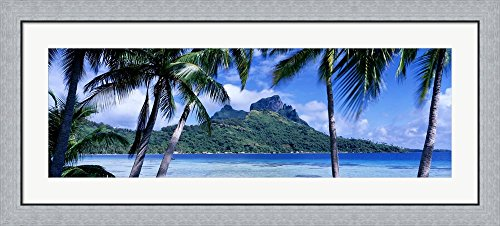 Bora Bora Framed - Bora Bora, Tahiti, Polynesia by Panoramic Images Framed Art Print Wall Picture, Flat Silver Frame, 44 x 20 inches