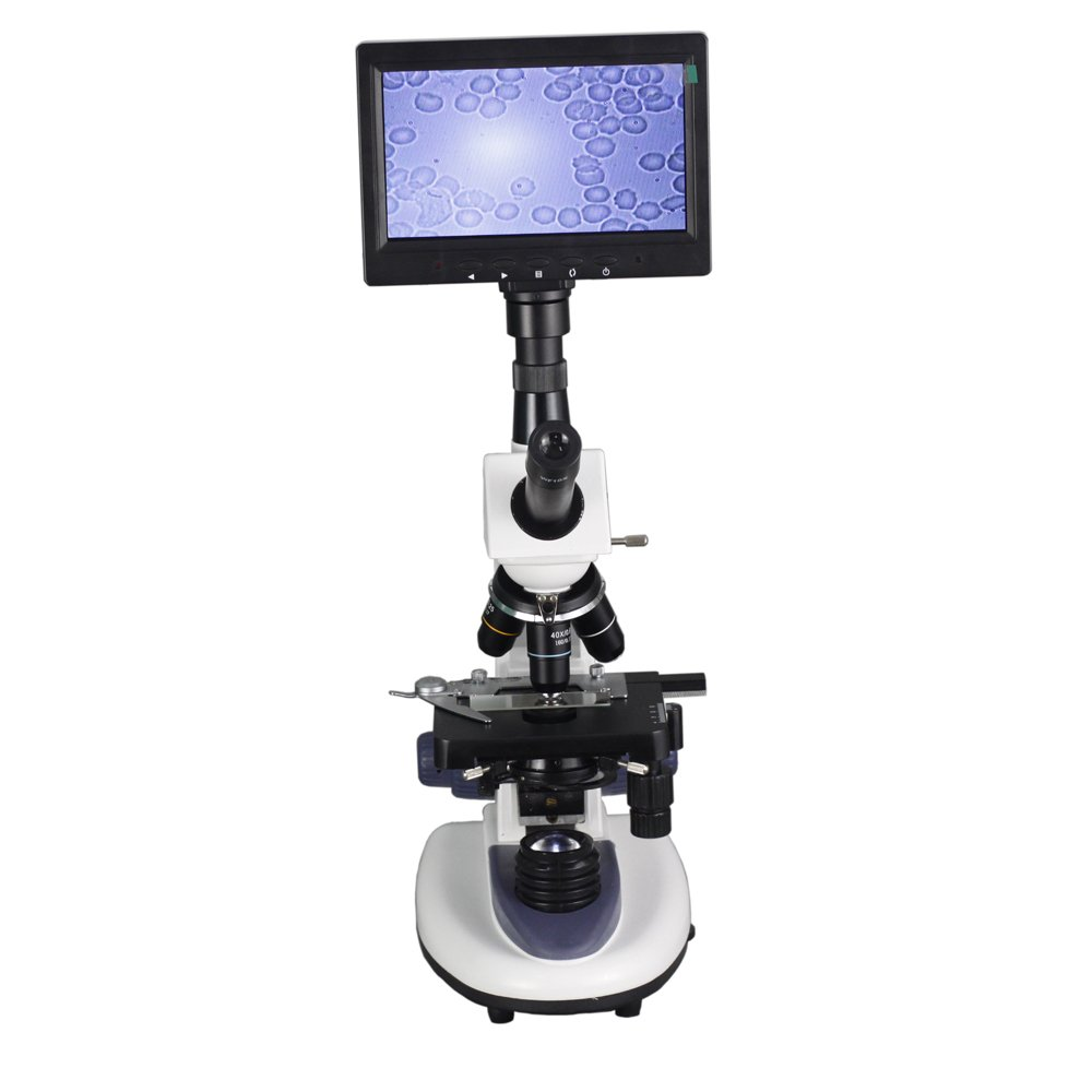 Professional Biological Microscope 40X-1600X with 7 Inch LCD Screen For Blood Detection Mites Aquaculture Instrument by Unknown