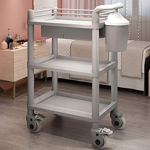 Mobile Treatment Cart - Rolling Storage Cart 3 Tier, Service Cart with Drawers and Bins, Medical Beauty Salon Equipment Treatment Vehicle Multi-Function Mobile Racks Gray Size: 543790cm
