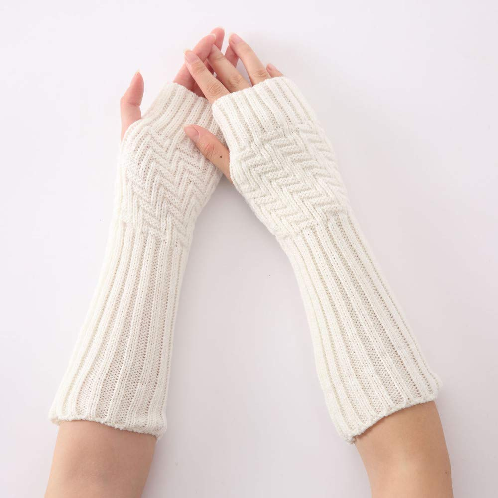 Tuu 1Pair Women Winter Warm Long Fingerless Gloves Solid Knitted Wrist Wrist Warmers