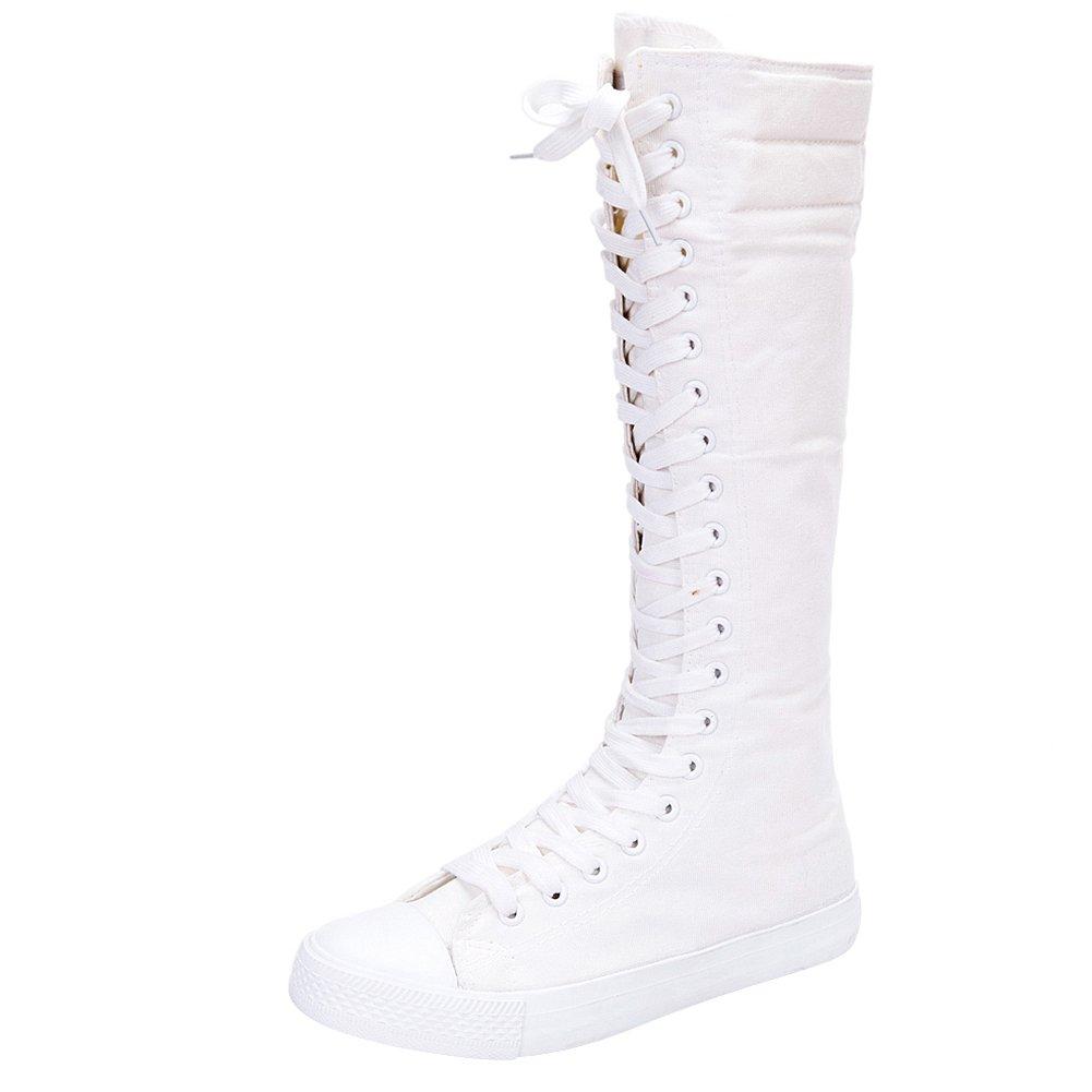 Jamron Filles Femmes Mode Chaussures Pur Genou Eclair Haut Lacer Bottes de Toile Pur Blanc Noir Fermeture Eclair Chaussures de Danse Blanc 7ed7d5f - automaticcouplings.space