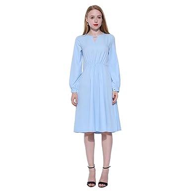 Domybest Damen-beiläufige Normallack-Lange Hülsen-Kleider, die ...