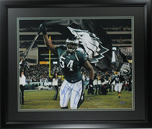 Jeremiah Trotter Autographed Photo - 16x20 Flag framed - Autographed NFL -