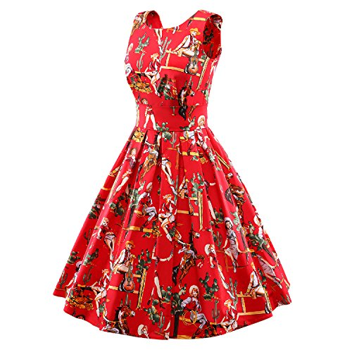 23 with Boat Dress Women's Rockabilly Sleeveless red Inspired Price LUOUSE Vintage Promo Dress Swing Neck 1950s wdIYXnX6xq