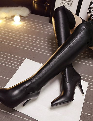 Scarpe tacchi da a con in Nero Xzz us6 donna Eu36 Uk4 tacco a Cn36 Stivali con neri con similpelle punta punta spillo Vestito wXdC6qx