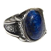 Sterling silver men ring handmade, lapis-lazuli natural gemstone, Express Shipping