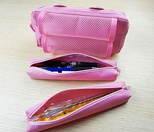 Estuche de lápices,bolsa de lápices de gran capacidad linda, bolsa de almacenamiento de artículos de papelería, estuche escolar tres cremalleras, rosa (Rosa): Amazon.es: Oficina y papelería