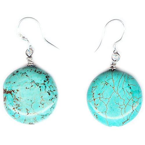 Blue Turquoise disc Earrings and 925 sterling silver hooks