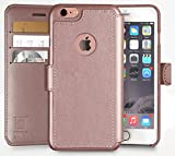 iPhone 6,6S Wallet Case, Durable and Slim , Lightweight with Classic Design & Ultra-Strong Magnetic Closure , Faux Leather, Rose Gold , Apple 6/6s (4.7 in)