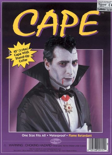 Black Vampire Cape Vinyl Adult or Child Halloween Costume Accessory
