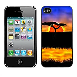 Carcasa Funda Prima Delgada SLIM Casa Case Bandera Cover Shell para Apple Iphone 4 / 4S / Business Style The African Safari Sunset