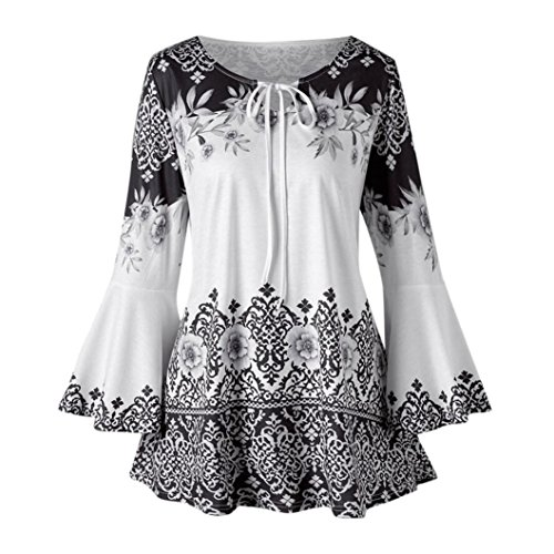 6063d9a19dddc FEITONG Womens Plus Size Printed Flare Sleeve Tops Blouses Lace up T-Shirts( 2XL