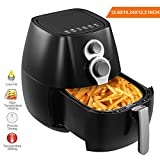 KUPPET A800 Air Fryer, 4.42Qt 1350W, Electric No Oil Cook Air Fryer Timer/Temperature 2 Way Control & 6 Cooking Presets, Auto switch-off, Dishwasher Safe, Black