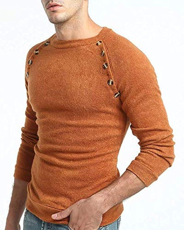 Lanceyy męski sweter z bluzą z wycięciem okrągłym dekoltem jednokolorowy prosty styl sweter dziergany wiosna jesień sweter dziergany: Odzież