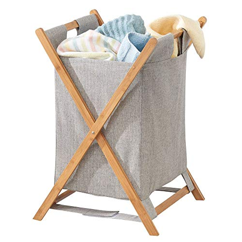 mDesign Bamboo Wood Laundry Hamper Sorter Cart, Portable and Collapsible Folding Clothes Basket Storage with Removable Poly/Cotton Liner Fabric Bag, X Frame - Natural Finish